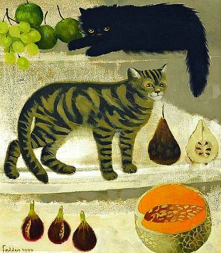 Mary Fedden Cats and Fruit 1990