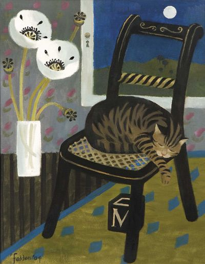 Sleeping Cat. Mary Fedden, 2004. Oil on canvas.