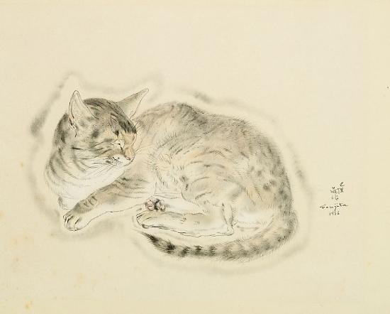 Cat Lying Down, Leonard Foujita