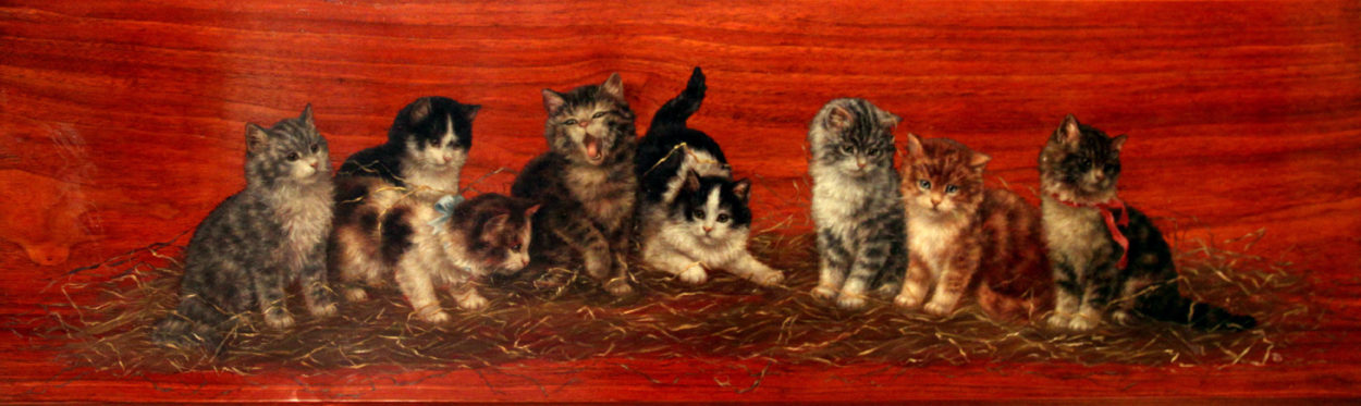 Eight Kittens on Mahogany Board, Bessie Bamber