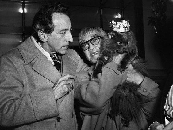 Jean Cocteau and Foujita with Cat Show Winner, Paris Nov. 3, 1950