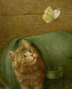 Kitten and Butterfly, Wilhelm Schwar