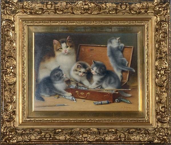 Kittens Playing with Paints, Wilhelm Schwar