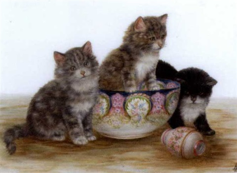 Kittens waiting for Tea, Bessie Bamber