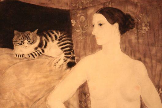 Nude woman and cat, Foujita
