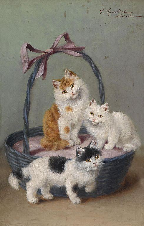Sophie Sperlich, Three Kittens in a Basket