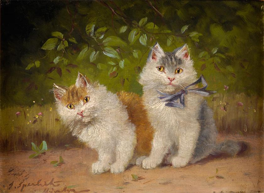 Sophie Sperlich, Two Kittens and Blue Bow