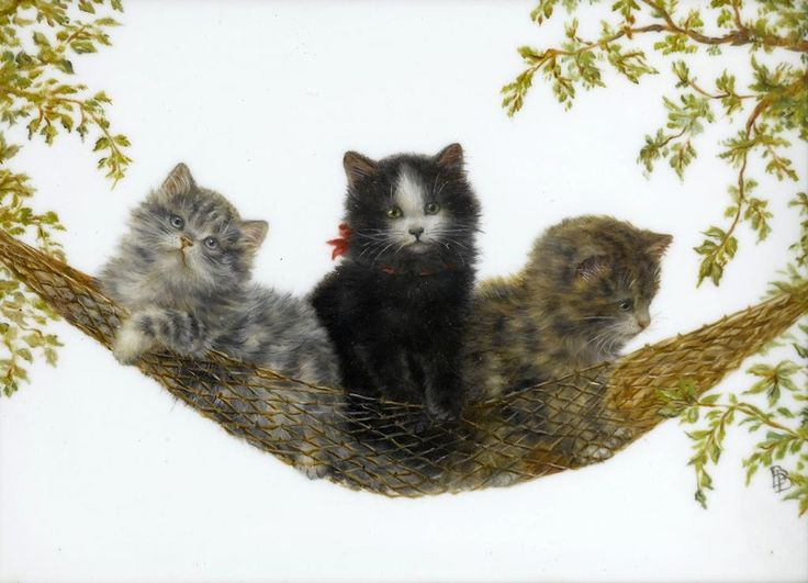 Three Kittens in a Hammock, Bessie Bamber