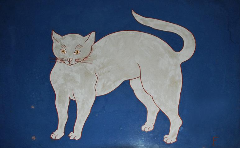 Tsuguharu Foujita, Cat on Blue Background