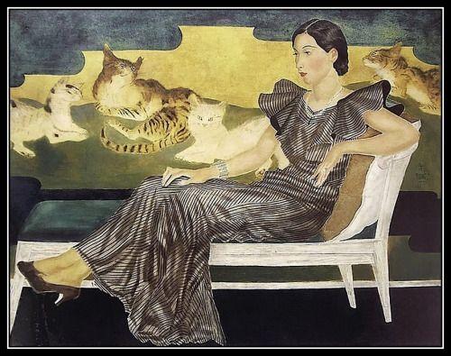 Tsuguharu Foujita - Dame aux chats