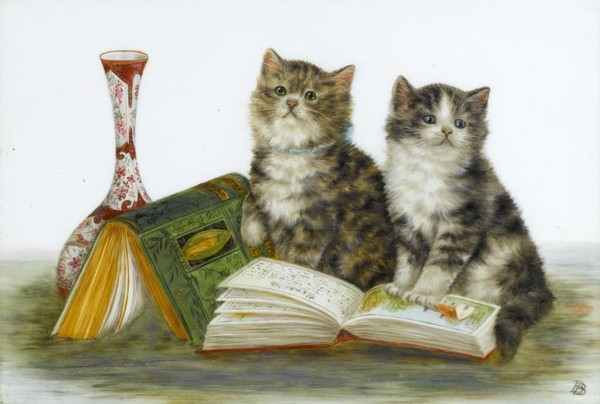 Two Kittens and Books, Bessie Bamber