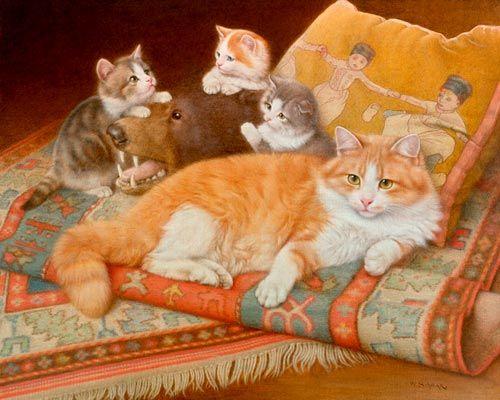 Wilhelm Schwar, Cat and Kittens