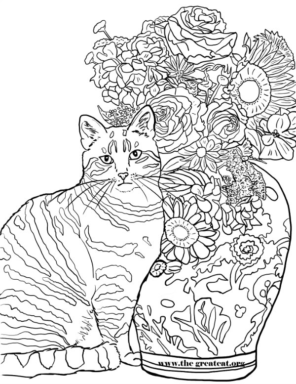 Cats and Flowers Coloring Book for Cat Lovers, LA Vocelle