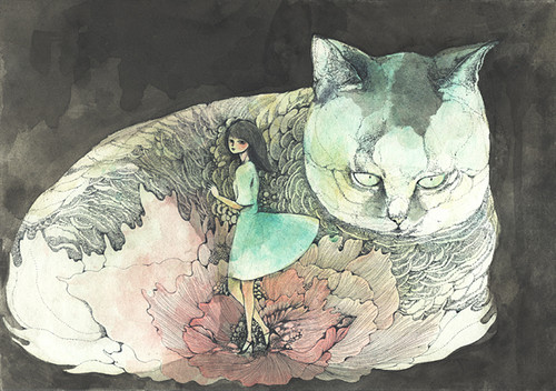 Midori Yamada31-Grey cat and girl