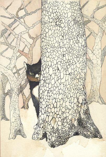 Midori Yamada40-Cat behind a tree