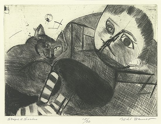 Striped Socks drypoint etching of girl with cat Will Barnet