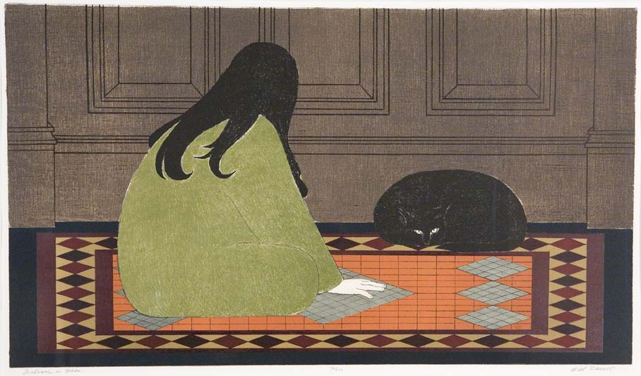 Woman and Cat on Rug, Will Barnet