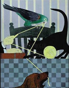 The Golden thread painting of cat and parrot and ball of yarn 1980