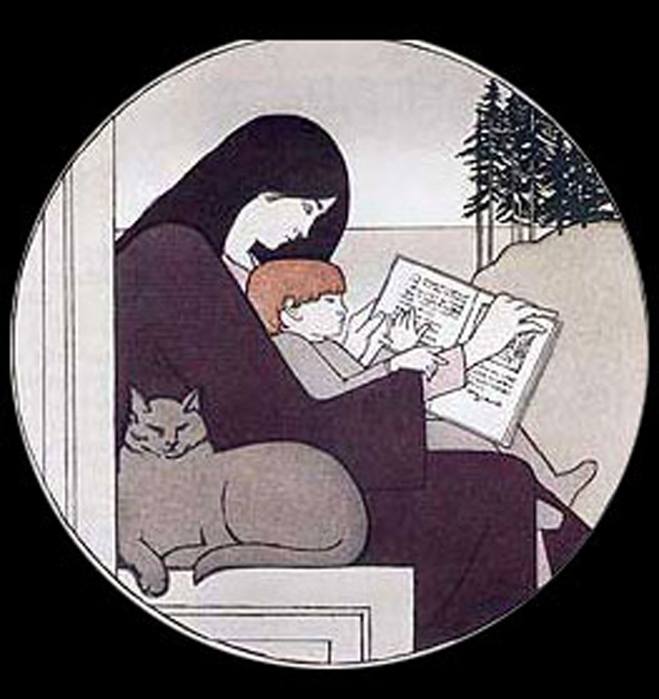 Twilight etching and aquatint of woman reading to child and cat,1988 Will Barnet