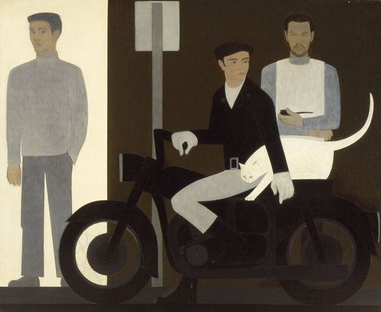 Will Barnet, Three Men with a White Cat on Motocycle