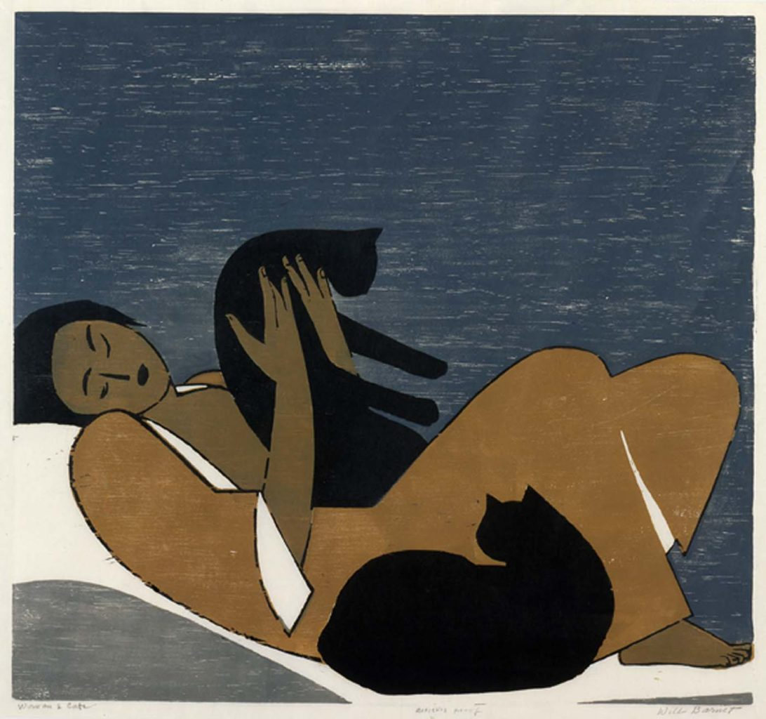 Will Barnet, Woman Facing Right with Two Black Cats