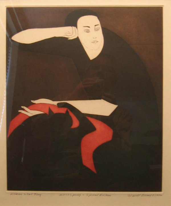 Will Barnet Woman and Cat Play