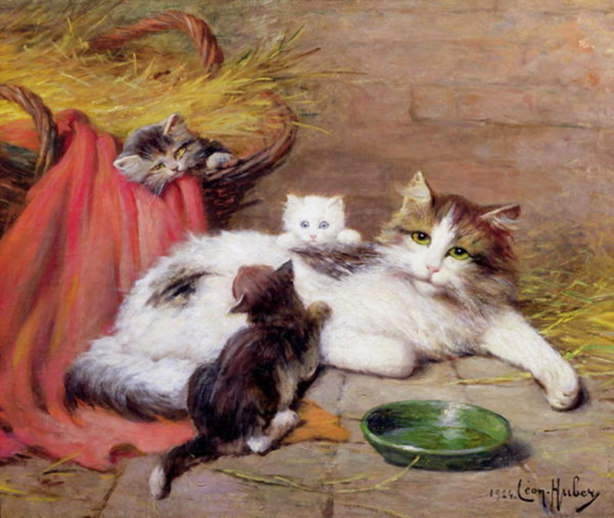 -A Cat and Three Kittens, Leon Charles Huber