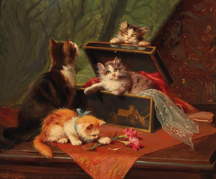 Mother and kittens, Leon Charles Huber