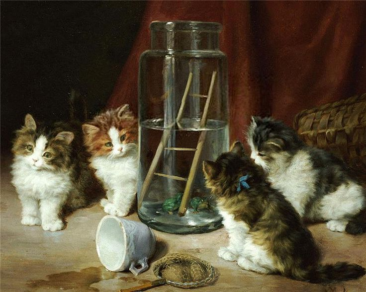 Leon-Charles Huber - Playful Kittens