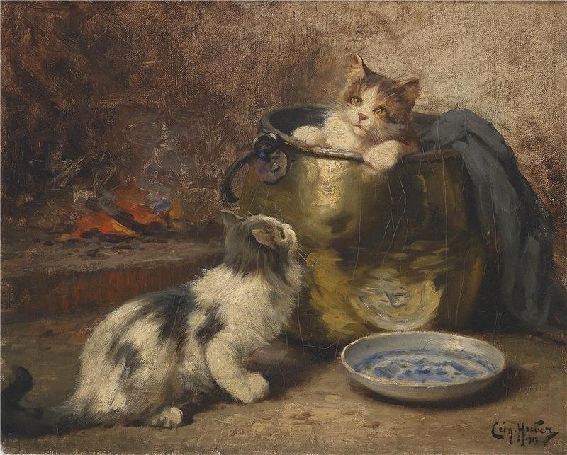 Two Kittens, Leon Charles Huber