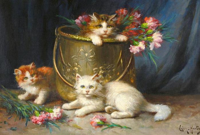 Three Kittens Playing, Leon Charles Huber