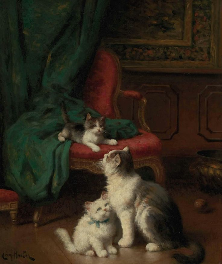 Léon Charles HUBER, Playful kittens