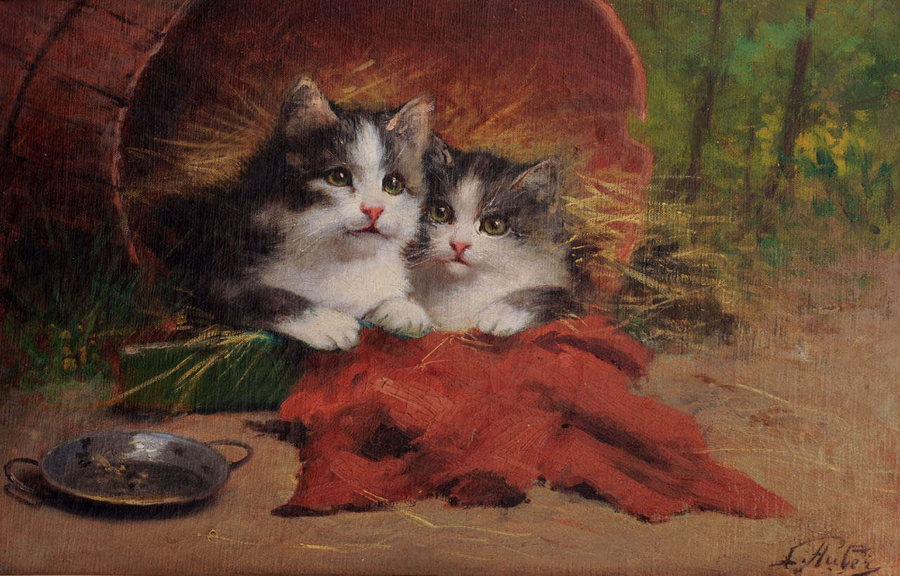 Two Kittens and an Empty Dish, Leon Charles Huber
