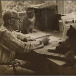 Henry Cowell and cat, famous cat lovers