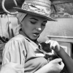 Joan Collins and kitten, famous cat lovers