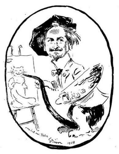 Portrait en chat du peintre Léon Charles Huber, connu comme Léon Hubert, spécialiste de la représentation de chats domestiques. 1908 by Grun