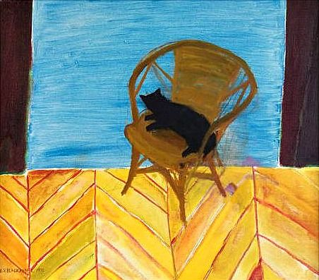 Cat on a Yellow Chair, 1972 Elizabeth Blackadder