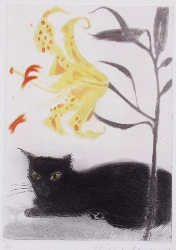 Elizabeth Black Adder Black cat and Lily, 1978