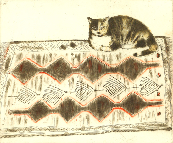 Kikko on a Rug, Elizabeth Blackadder