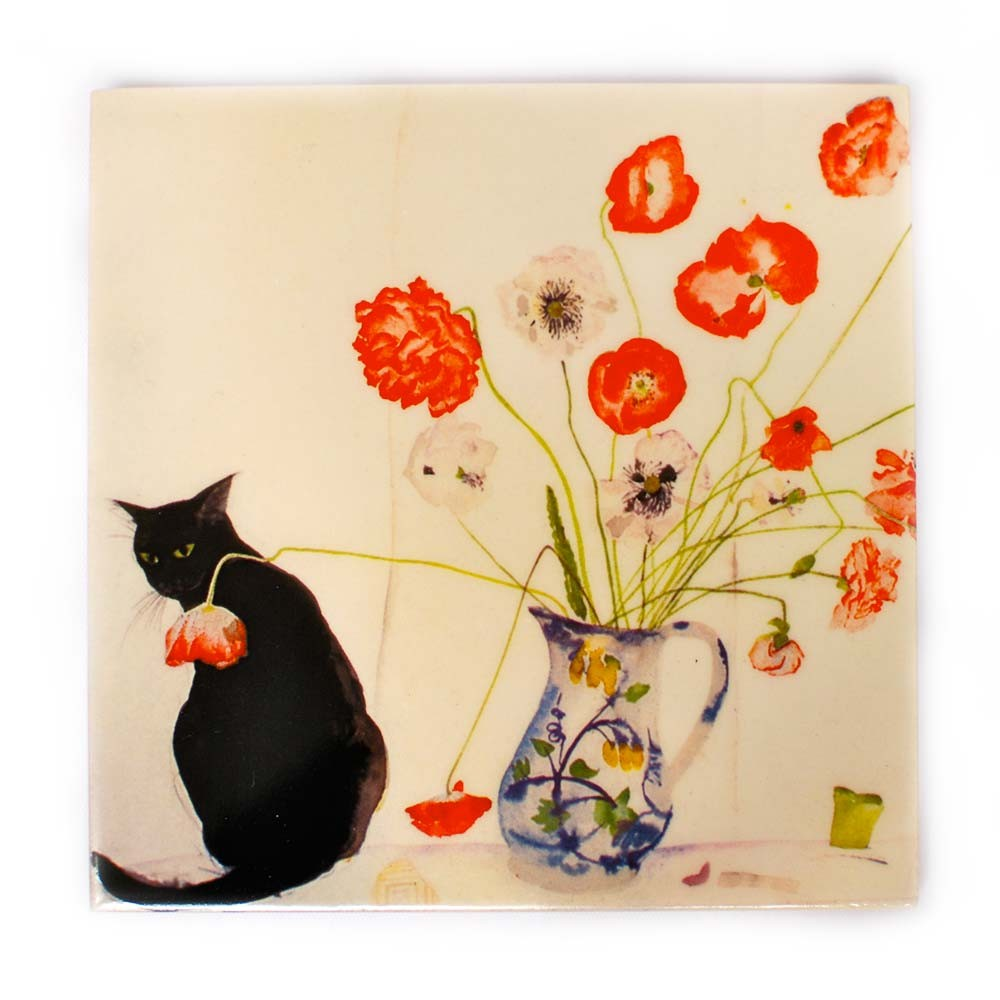 Poppies and Black Cat, Elizabeth Blackadder