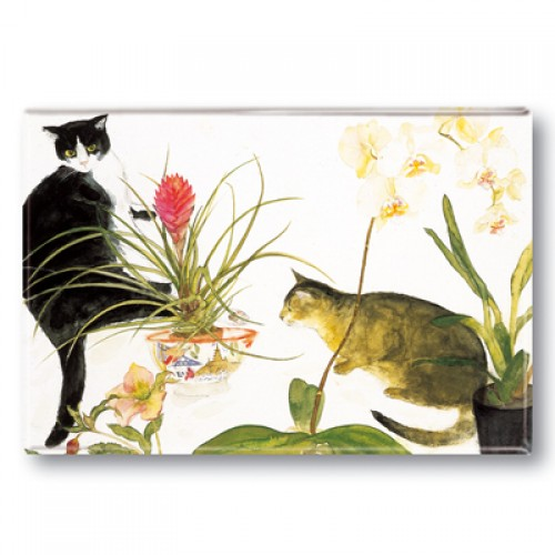 Two Cats and Flowers, Elizabeth Blackadder