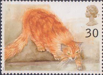 Stamp 4 Choe (ginger cat) from Cats (1995) British postage stamp 1995, Elizabeth Blackadder