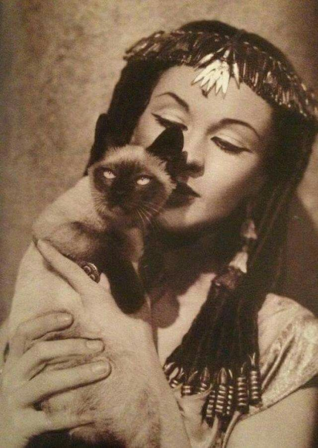 Vivien Leigh as Cleopatra and her Siamese cat Ting Ling.