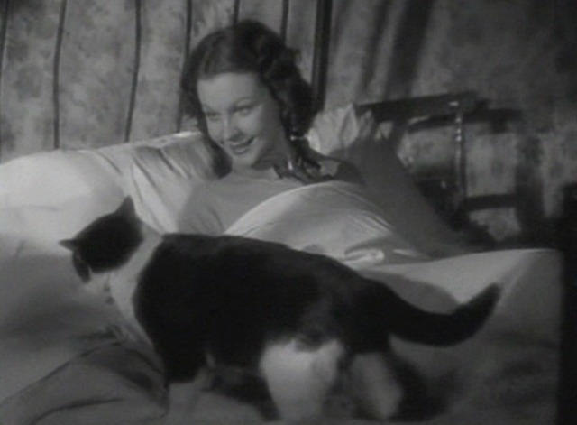 Vivien Leigh in movie St. Martin's Lane - Liberty finds black and white cat on her bed