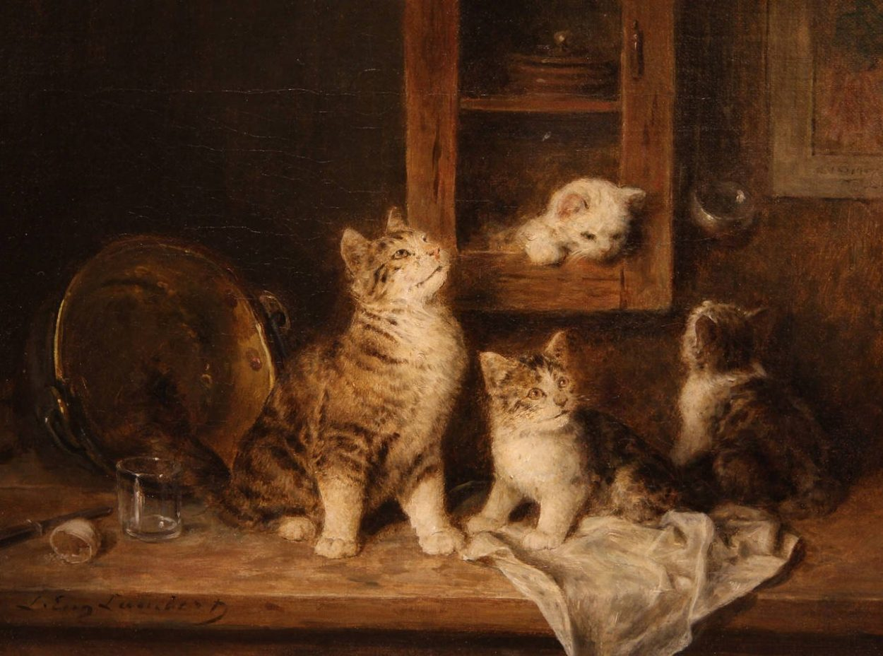 Kittens at Play Oil Painting by Louis-Eugene Lambert