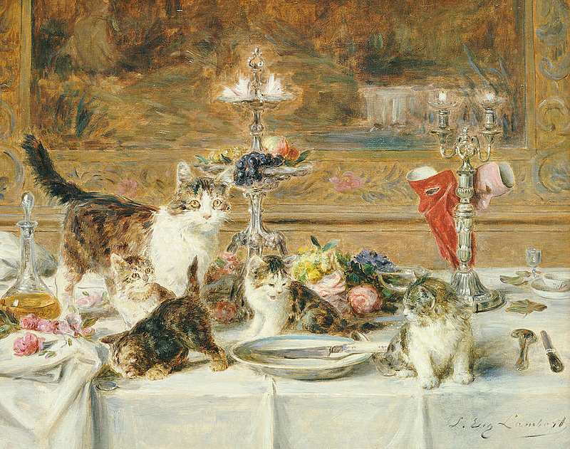 After Dinner Guests, Louis Eugene Lambert, cats in art