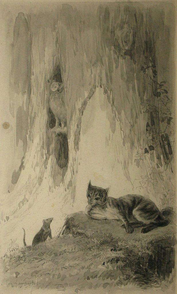 Eugène Louis Lambert Mouses and cat in the forest - Souris et chat dans la forêt