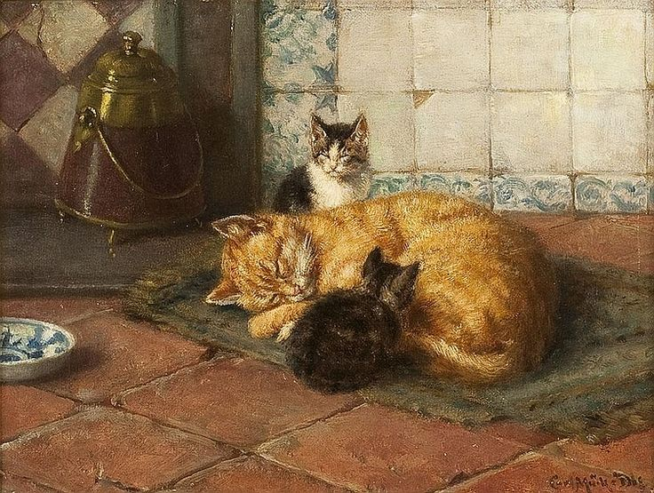 Karl Emil Mucke, Mother and Kittens