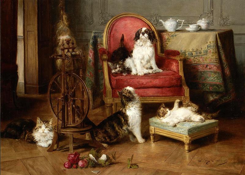 Tea time, Louis Eugene Lambert, cats in art