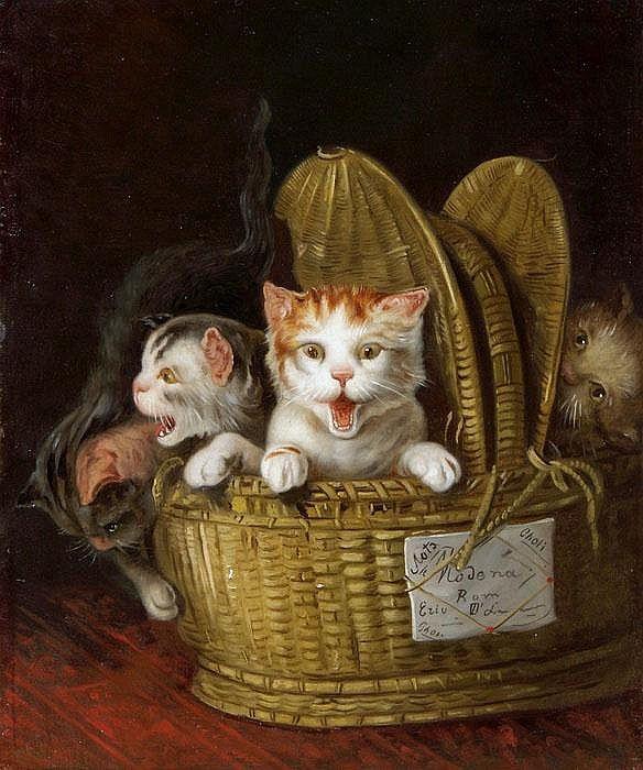 Korb mit drei jungen Katzen Louis-Eugene Lambert, Three young cats in a basket, cats in art
